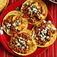 Chorizo-Calabaza Tacos Zucchini and ground pork are the base for our simple chipotle-spiced, one-skillet tacos. Warm corn tortillas and a chopped onion and parsley mixture.