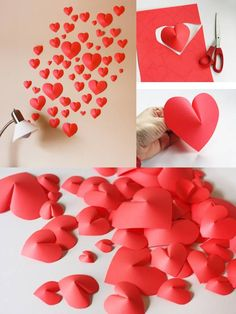 valentine decorations 418975571586660704 - These would be pretty in your colors sprinkled on tables! DIY – Paper Hearts Super Easy Source by Valentine Day Wreaths, Valentine Day Crafts, Love Valentines, Paper Christmas Decorations, Valentines Day Decorations, Color Sprinkle, Diy 3d, Valentine's Day Crafts For Kids, Heart Crafts
