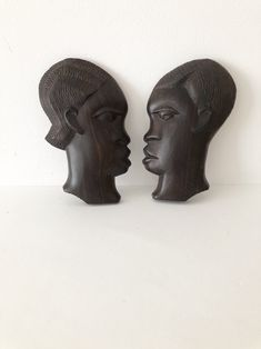 Vintage African Wall Plaques, Wooden Hand Craved Hangings, Set of 2 African Plaquew, Afriacan Wall Decor, Triabal Art