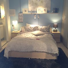 Bedroom ideas for a small apartment. Love the soft colors, black undertones would be cool for this scheme too.