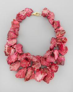 Chunky Pink Jasper Necklace by Nest at Neiman Marcus.