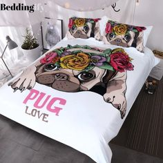 Blessliving Trendy Puppy Bedding Love Pug Rose Bed Set Sweet Valentines Day Gift Kawaii Duvet Cover for Dog Lover Full -- Check out the image by visiting the link. Cute Duvet Covers, Bed Duvet Covers, Duvet Cover Sets, Cute Bedding, Linen Bedding, Unique Bedding, Bed Linens, Marble Bedding, 3d Bedding