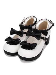80a93aca5e04 Sweet Lolita Shoes Bow Strappy Chunky High Heel Deep Brown Lolita Footwear   Bow