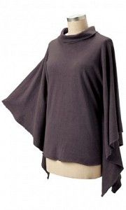 #ECkimmy1161 Kimmy Poncho- This stylish Kimmy Poncho is the perfect layering piece for those chilly days. It's trendy look and fun colors make this one of those great pieces to spice up any wardrobe. Clay dyed it looks fabulous with a pair of skinny jeans or dress up a bit and pair with slacks. Relaxed fit. Made in the USA.     Fabric: 55% hemp / 45% organic cotton jersey  $70.00  www.stylishorganics.com