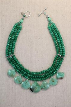 Merrick Jewels - chrysoprase and quartz necklace  www.merrickjewels.com