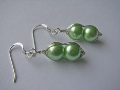 Pea pod vegetable earrings, green bean, wire wrapped, sterling silver so cute! http://www.artfire.com/ext/shop/product_view/SparkleBlissJewelry/8231332/heart_toggle_clasp_sets_10_sets_/indie_supplies/jewelry_supplies/findings/closures