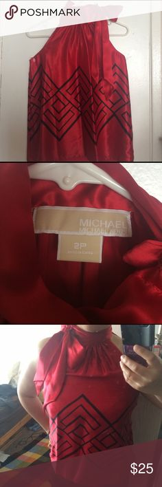 Michael Kors dressy tops Red, dressy tops by Michael Kors. Authentic. Size 2P. Brand new. It's sitting in my closet for a year and never wore it. I put it on to show you how it looks on a person. I am 5'1, 145 lbs. excuse my fat arms. 😆 it's very elegant! Will look great on your sculpted arms and shoulders!!!!! 💪 Michael Kors Tops Tank Tops