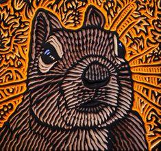 LISA  BRAWN   WOODCUT           Squirrel 5