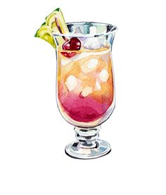 Cocktails for Lonely Planet - Holly Exley Illustration