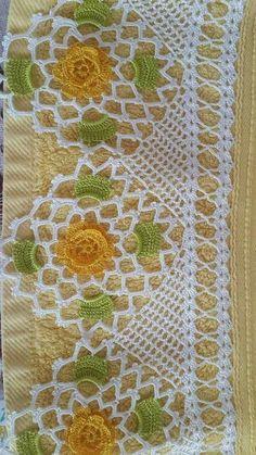Look Look Endless Full 107 Crochet Towels and Headscarf Needlework Model - Crochet - Yeni Hobby Crochet Slipper Pattern, Crochet Lace Edging, Crochet Borders, Crochet Flower Patterns, Crochet Slippers, Thread Crochet, Filet Crochet, Irish Crochet, Baby Knitting Patterns