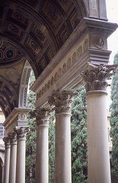 The Portico of Pazzi Chapel, Florence Sacred Architecture, Baroque Architecture, Classical Architecture, Historical Architecture, Amazing Architecture, Architecture Details, Italy Architecture, Landscape Architecture, Italian Renaissance