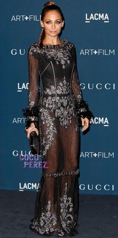 Nicole Richie shows off her undergarments in a dazzling dress at the LACMA Art and Film Gala!