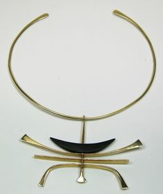 ED WIENER NECKLACE 14KT GOLD MODERNIST DESIGN