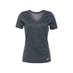 Nike Heathered V-neck T-shirt ($23) ❤ liked on Polyvore featuring activewear, activewear tops, nike sportswear, nike and nike activewear