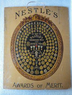 1900's Vintage Nestle Awards of Merit Emboss Paper Sign ADV EHS #Nestle