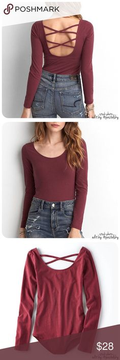 """AEO body suit NEW with tags, never worn and in excellent condition. comfortable, soft body suit with snap closure. perfect for layering!  details ∙ small ∙ 27"""" length ∙ 13.5"""" bust  ∙ 22"""" sleeves  materials ∙ 95% cotton ∙ 5% polyester  due to lighting- color of actual item may vary slightly from photos.  please don't hesitate to ask questions. happy POSHing    use offer feature to negotiate price on single item  i do not trade or take any transactions off poshmark American Eagle Outfitters…"""