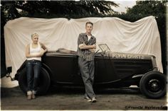 Portrait Hot Rod Hayride - Dan et sa girlfriend Ford 34 roadster 350 Sbc