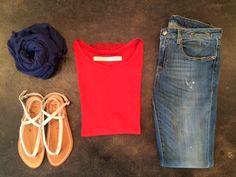 Raquel Allegra Boxy Tee, Vintage Red   R13 Alison Crop Jean, Strummer Blue   Pomandere Modal & Linen Scarf, Cobalt   K Jacques Delta Sandal