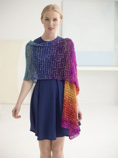Crochet our Openwork Shawl with just ONE ball of Shawl in a Ball! Shown in Restful Rainbow. Size J-10 (6 mm) hook required.