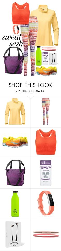 """""""Sweat Sesh"""" by elsiebeagie ❤ liked on Polyvore featuring The North Face, Saucony, Sweaty Betty, American Tourister, Schmidt's, Fitbit, Sudio and Forever 21"""