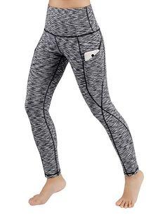 2fb0bdc1fa643 ODODOS High Waist Out Pocket Yoga Pants Tummy Control Workout Running 4 Way  Stretch Yoga Leggings