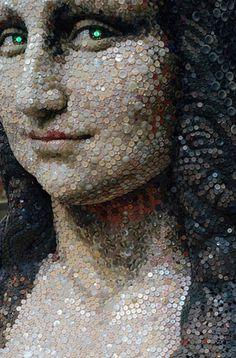 Mona Lisa Buttons Sculpture at the Hankyu Shopping Center in Kobe, Japan