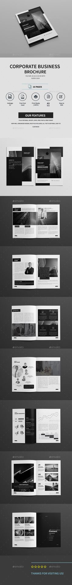 Corporate Business Brochure — InDesign INDD #free fonts #easy • Download ➝ https://graphicriver.net/item/corporate-business-brochure/19202194?ref=pxcr