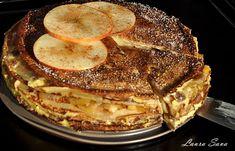 Tort de clatite cu mere si crema de vanilie | Retete culinare cu Laura Sava - Cele mai bune retete pentru intreaga familie Mai, Tiramisu, Pancakes, French Toast, Sweets, Breakfast, Sweet Pastries, Crepes, Gummi Candy