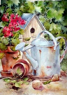 Birdhouse with watering can by Susie Short