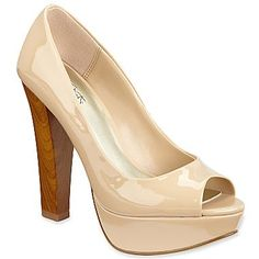 light nude patent peep toes, nice contrast with the chunky wood heel