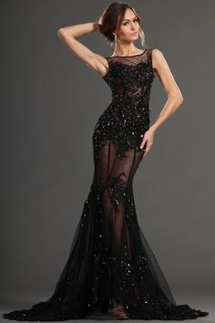 SEXY Black Sequin Corset Prom Dress - Formal Gowns - Night Moves ...