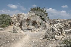 Old king tombs in Kyrenia city on the South Cyprus,