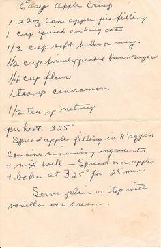 Apple Crisp - gotta trust this old looking handwriting