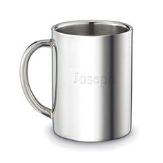 Personalized Stainless Steel Mug - A great corporate gift engraved with employee names!