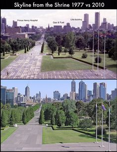 Skyline from Melbourne's Shrine of Remembrance 1977 vs 2010