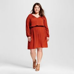 Women's Plus Size Peasant Dress  - Ava & Viv™ I want the dark blue