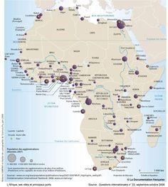 L'Afrique, ses villes et ses principaux ports Africa Map, Information Design, Historical Maps, Casablanca, Geography, Egypt, Statistics, Learning, Fair Trade
