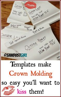 crown molding made simple with templates - http://sawdustgirl.com More