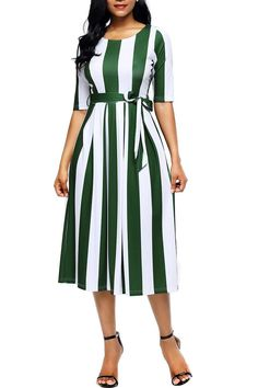 FashionGo is an online wholesale clothing marketplace where hundreds of manufacturers and wholesalers provide clothing, apparel, accessories, shoes, handbags and a variety of fashion related items. Tea Length Dresses, Short Sleeve Dresses, Kurta Designs Women, Midi Dresses Online, Striped Midi Dress, Stretch Dress, Colorful Fashion, Stripe Print, Half Sleeves