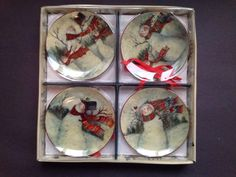 Susan Winget Mini Snowman Plates Set of Four