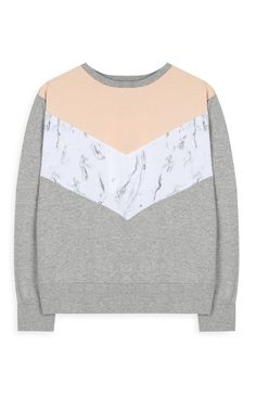 Grey Marble Panel Sweater