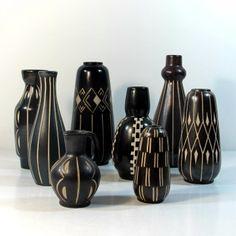 Ensemble de huit céramiques de Anton Piesche Sgrafo