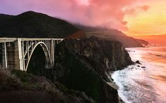 """""""California Colors"""" -- #wallpaper by """"Lowe Rehnberg"""" from http://interfacelift.com -- Sunset over Highway 1 and Bixby Bridge.  Adobe Photoshop Lightroom 5, Adobe Photoshop CC. -- Available as #wallpapers in any resolution at: http://interfacelift.com/wallpaper/details/3810/california_colors.html"""