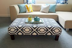 Love This, Means i am on a mission to find a dated or dilapidated ottoman or coffee table to do this with..