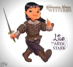 Vamers - Artistry - The Wonderful World of Westeros Imagines Disney Princesses as Game of Thrones Characters - Art by DjeDjehuti - Lilo as A...