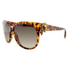 Alexander McQueen AMQ 4245 2IC Havana Round Gradient Lens Sunglasses