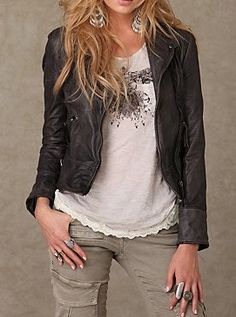 Black leather jacket, White graphic tee, Gray Jeans - Casual Outfit