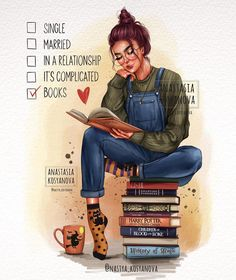 Repeat🙌🏻🍂 What's your favorite book? ———————————— My new illustration 🍂Image protected by copyright. Cute Girl Drawing, Cartoon Girl Drawing, Girl Cartoon, Cute Cartoon, Cartoon Art, Reading Art, Girl Reading, Anastasia Book, Girly Drawings