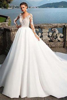 Lace Wedding Dresses #LaceWeddingDresses, A-Line Wedding Dresses #A-LineWeddingDresses #weddingdress