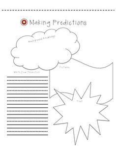Use this sheet to work on making predictions, with evidence from what the student knows, sees, and reads.  Use before reading a book, or during a book.